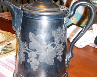 Silver Plate Coffee Pitcher, 1872 Reed & Barton #0363 Patent 1864