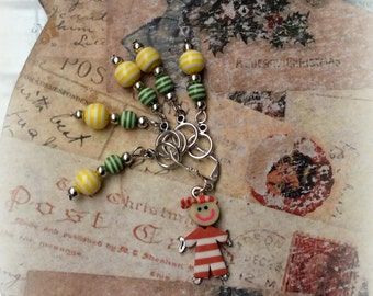Knitting Stitch Markers Set 6 Сhild with striped balls Acrylic beads Stitch Markers Snag free Knitting gift Secret Santa gift for knitter