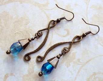 Aqua Blue and Brass Boho Earrings (3433)