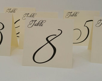 Wedding Table Number, Tent Table Number, Large Freestyle Font Design for Your Wedding Reception Decor, Elegant Table Number