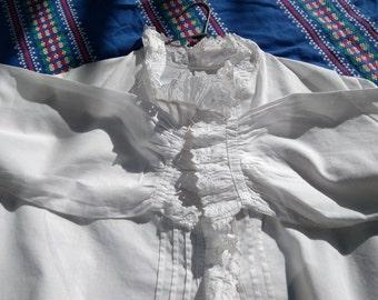 White Victorian Cotton Blouse Pleated Eyelet Lace Ruffled French Handmade Long Sleeves Women Shirt Medium Large #sophieladydeparis