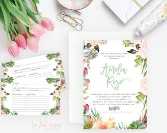 Printable Bridal Shower Invitation /  Shower Invite, Wedding Shower  - Amelia Rose