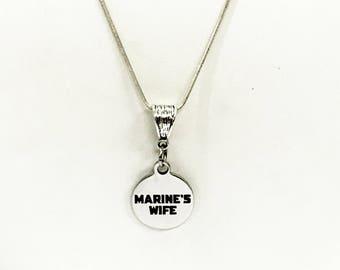 Marine's Wife Jewelry, Marine's Wife Necklace Gift, Wife Jewelry Gift, Marine Supporter, Proposal Gift, Proposal Jewelry,  Engagement Gift