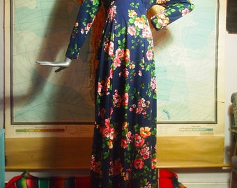 Perfect 1970s / 70s Vintage Bohemian Garden Navy Blue Pastel Floral Graphic Print Long Sleeve Pscyh Rock Festival Rock Goddess Maxi Dress