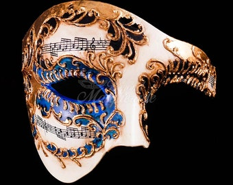 Men's Masquerade Mask, Blue Phantom Mask,  Ivory Phantom of the Opera Mask, Mask with Music Notes, Masquerade Mask Men, Mardi Gras