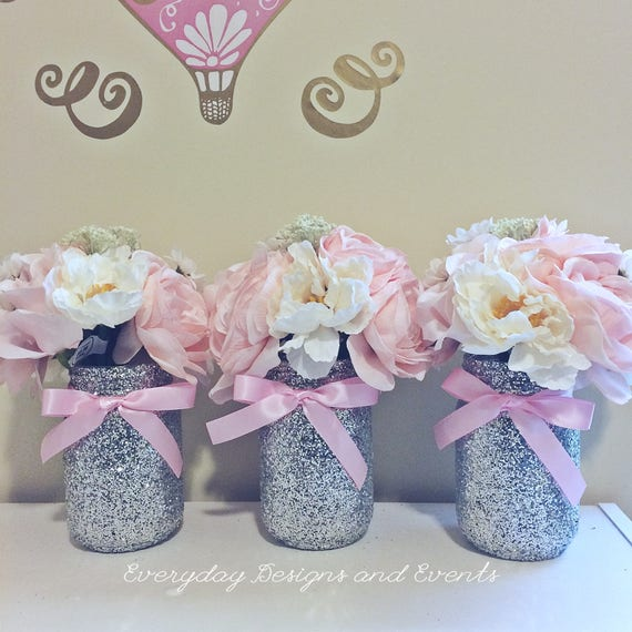 3 Pink And Silver Mason Jars Pink Baby Shower Bridal Shower