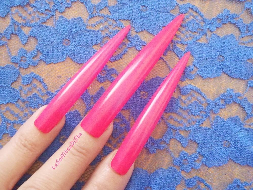hot pink stiletto nails extra long wag drag queen false nail fuchsia ...