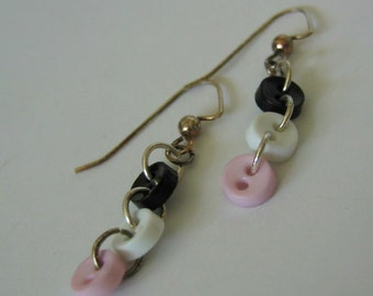 Teeny Tiny Button Dangle Earrings in Black White and Pink