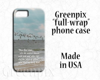 religious cell phone case, skinmmers birds, beach sand, ocean water, scripture Bible verse, inspirational quote, iPhone X,  8, 7, 6, 6S Plus