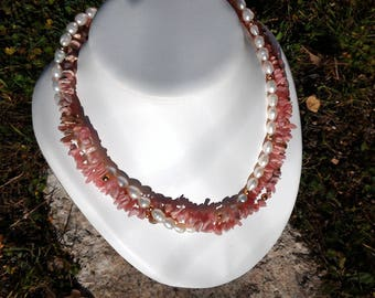 Rhodochrosite necklace and beads
