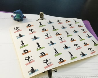 PP032 -- Set of 42pcs little Yoga Life Planner Stickers || Perfect 4 Erin Condren, Limelife, Plum Paper, Filofax Planners