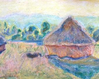 Claude Monet  Haystacks, Monet painting , Monet copy , Monet reproduction , oil pastel drawing , Monet haystacks , Monet drawing , haystacks
