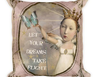 Let Your Dreams Take Flight Art Collage Throw Pillow