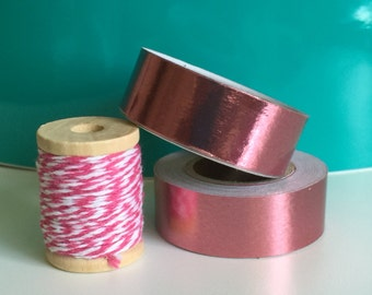 PINK FOIL Washi Tape Metallic Foiled Roll Valentines Day cards envelope card planner crafts planners cards sticker stickers packing masking