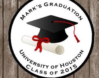 Personalized Graduation Stickers - 2018 Graduation Favor Tags  - Graduation Favors - Graduation Party - Graduation Thank You