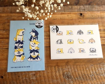 "Cute Set of Postcards- ""Shibanban"" Shibainu for scrapbooking, gift message, Bookmark, Packaging, Party favor"