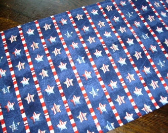 Patriotic Table Runner Stars Stripes Blue Background