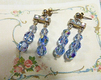 Vintage Blue Crystal and Aurora Borealis Pierced Earrings - V-EAR-538 - Crystal Earrings - Aurora Borealis Earrings