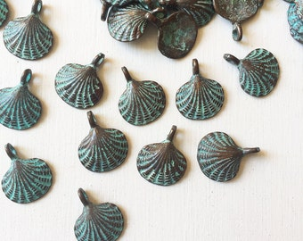 15mm Verdigris Copper Seashell Charms Set of 6