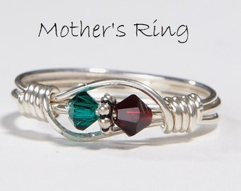 Mother's Ring 2 Birthstones: Personalized Sterling Silver Mom's Family multistone Ring. Two swarovski crystals-birthday, Valentine's Day.