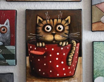 cat in cooking pot, Striped cat,  Modern Art, Ivan Glock - berlin cat,  Giclée print -