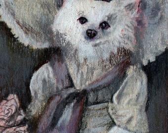 original art  aceo drawing anthropomorphic victorian spitz dog in hat