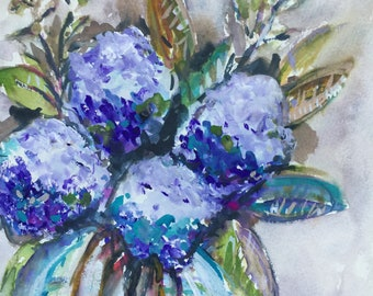 Hydrangea watercolor and gouache painting