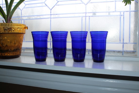4 Cobalt Blue Glass Tumblers Art Deco Vintage Drink Set