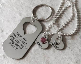 Personalized dad keychain fathers day gift there are these girls they stole my heart they call me daddy girls set of necklaces daughter name
