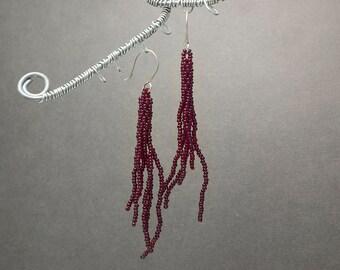 Beaded Tassel Earrings, Red Earrings, Seed Bead Earrings, Beaded Jewelry, Boho Earrings, Ruby, Dangle Earrings