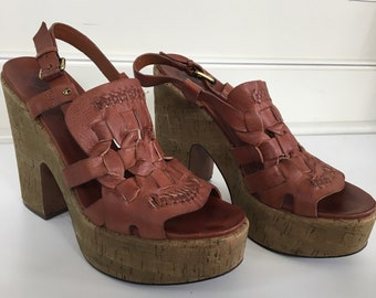 70's inspired platform , chunky cork heels leather sandals size 8.5