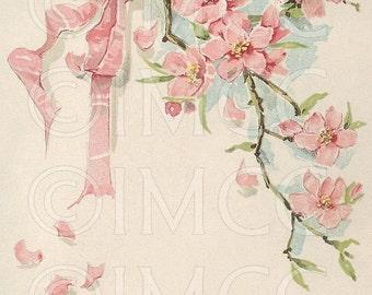 Digital Download Scan Vintage Pink Flowers ECS
