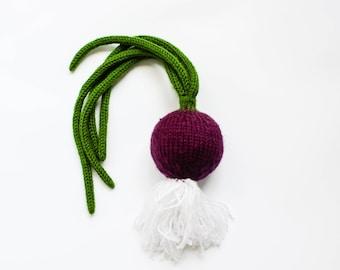 Waldorf speelgoed UI - pretend play paarse UI - Waldorf speelgoed voor peuter - zacht stuk speelgoed groenten - play keuken voedsel - Baby gym toy - kleuterschool