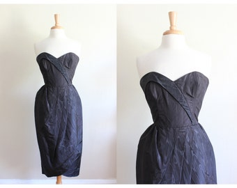 Vintage 1980s Black Moire Strapless Cocktail Dress / Jessica McClintock Gunne Sax Dress