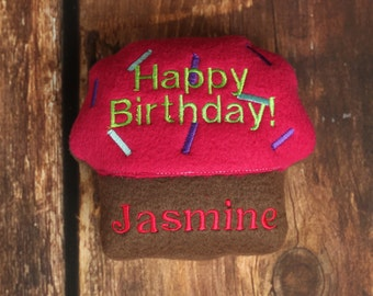 Personalized Birthday Dog Toy Cupcake Squeaker with Name