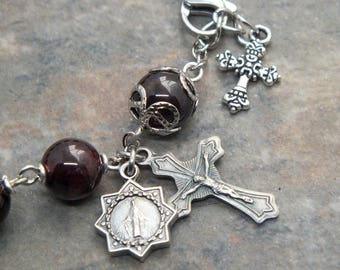 Gemstone Rosary Bracelet in Garnet, Catholic Bracelet, Religious Jewelry, January Birthstone, Single Decade Rosary, 1 Decade Chaplet