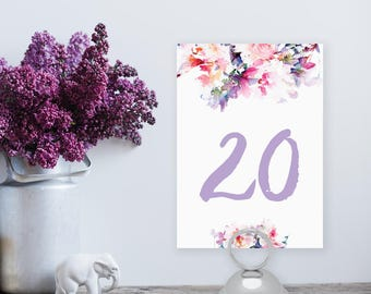 Instant Download - Floral Watercolor Table Number 1-20 - Lilac Spring DIY Printable Table Numbers - Jessica