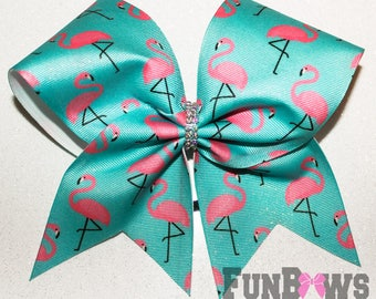 Amazing Flamingo Ombre Glitter and rhinestone cheer bow by FunBows !