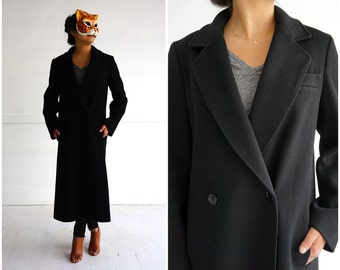 Classic Vintage 1960's Black Trench Coat by Anthonie's | Small