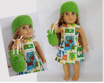 "Christmasprint dress, hat, purse fits 18"" dolls such as American Girl"