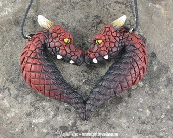 Custom Made Dragon Portrait Heart Necklace - Fire Elemental Dragons - IN STOCK and Ready to Ship