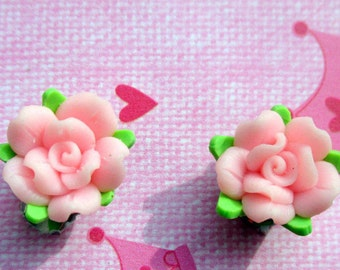 Handcrafted-Pink Rose earrings-clay jewelry-Flower Girl earrings-childrens-clip on earrings-light pink rose studs-kids wedding accessory-