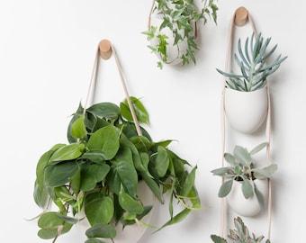 3 Tier Spora: porcelain and leather planter