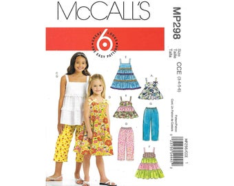 Toddler Girls Sleeveless Ruffle Tunic Dress Pants 3 to 6 Sewing Pattern McCalls MP298