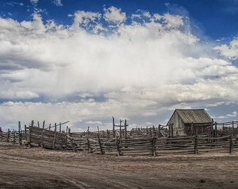 Western Corral Fence and Shipyard out West under a Cloudy Blue Sky No.06912 - A Fine Art Architectural Farm Ranch Landscape Photograph