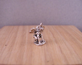 Crouching  Fairy Faerie  Sterling Silver Charm