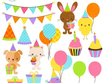 Cute Birthday Animals Clipart Set - clip art set of party animals, balloons, bunting - personal use, small commercial use, instant download