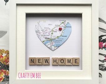New Home Scrabble Heart Map Frame