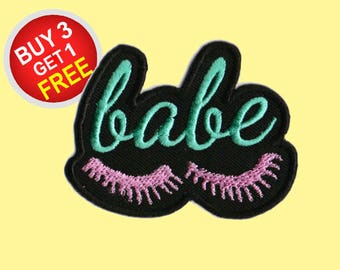 Babe Patch Set Iron On Embroidered Patches Lashes Girl