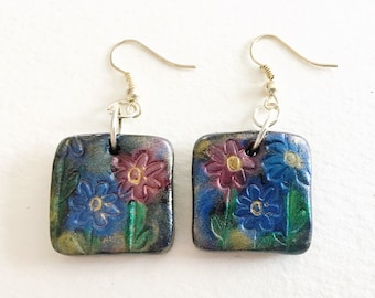 Flower Earrings - small square shaped polymer clay dangle earrings